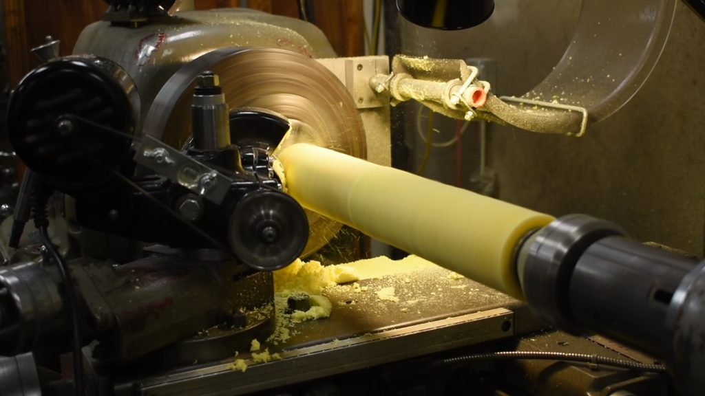 Urethane Tube on a Lathe Being Machined